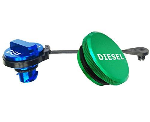 illet Aluminum Fuel Cap Combo Pack,Diesel Fuel Cap for Dodge - Magnetic Green Diesel Fuel Cap and Non-magnetic Blue DEF Cap for 2013-2018 Dodge Ram Diesel Trucks 1500 2500 3500