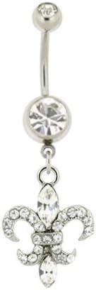 Clear cz gem Fleur de lis dangle Belly button navel Ring piercing bar body jewelry 14g