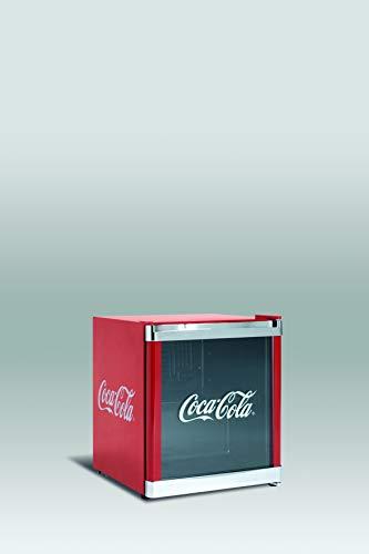Refrigerador botellero puerta de Cristal, color rojo con logotipo en la puerta de coca cola Rango de temperatura de 4º a 12º Marca Scandomestic modelo HUS CC165 SCN A+