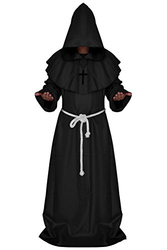 Qincos Traje Medieval Encapuchado Disfraz de Monje Medieval Sacerdote con Cruz para Halloween Carnaval Talla XL
