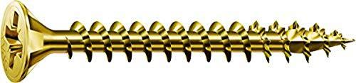SPAX Universalschraube, 4,5 x 60 mm, 500 Stück, Kreuzschlitz Z2, Senkkopf, Vollgewinde, 4CUT, YELLOX A2L, 1081020450605