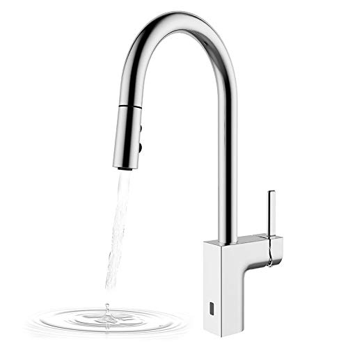 Kitchen Faucets Hands Free, Two-Sensor Touchless Kitchen Faucet with Pulldown Head, New Square...