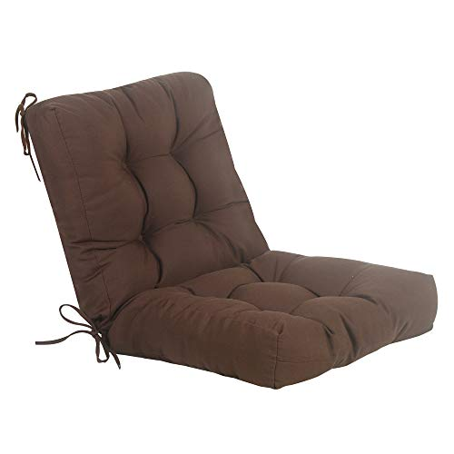 QILLOWAY Outdoor Seat/Back Chair Cushion Tufted Pillow , Spring/Summer Seasonal All Weather Replacement Cushions. (Coffee / Brown / Chocolate)