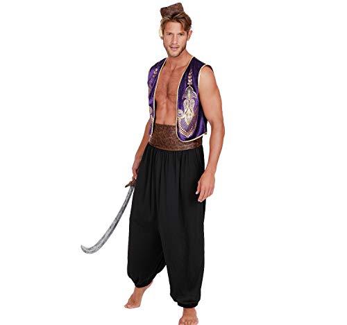 DreamGirl Disfraz de Hombre Oriente Príncipe árabe Aladdin, 1001 Noches, Carnaval (M)