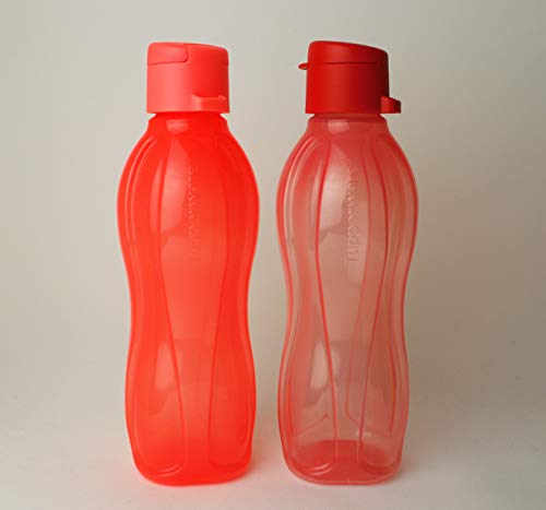 Tupperware EcoEasy Trinkflasche Clipverschluss 2X 500ml Rot und Neonorange