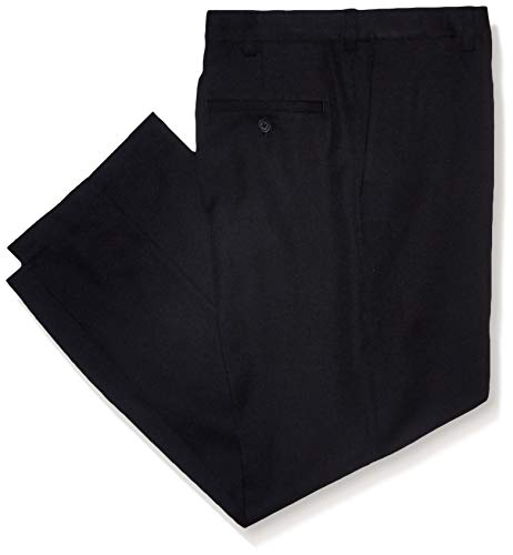 Haggar Men's Cool 18 PRO Classic Fit Flat Front Expandable Waist Pant, Black, 52Wx32L
