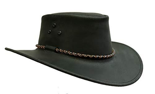 Kakadu Traders Australia Kakadu Lederhut Echuca in schwarz mit geschwungener Krempe und Rundkordel-Hutband   Herren Damen Größe XL   2. Wahl