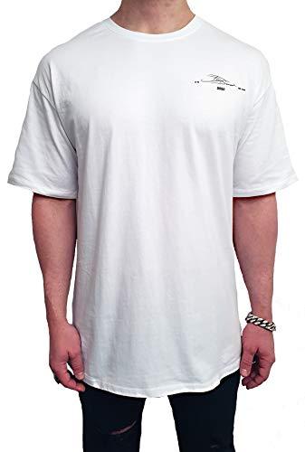 Oversize Session ONE Tee Baumwolle Print Backprint Shirt Herren Kurzarm lang Drop Basic Rundhals Vintage Classics Sweatshirt Longshirt Cotton Oversized Sommer männer s m l XL 2XL (S, WEIß - Schwarz)