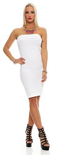 AE Damen Kleid Dress Bandeaukleid Bandeau Trägerlos Club Party Cocktailkleid Lang Gr. S/M/L, 36,38,40 Weiß M