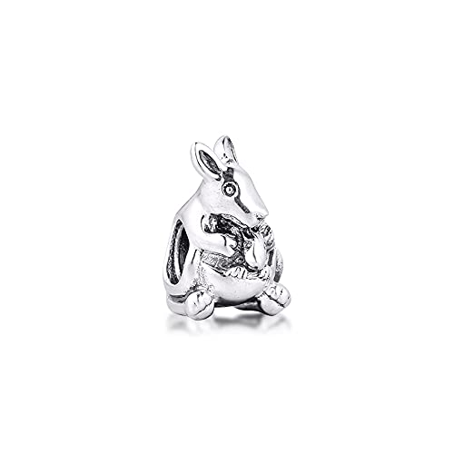 LISHOU Joyería De Plata Esterlina 925 para Mujer Abalorios De Metal para Bebé Canguro Se Ajustan A Pulseras Pandora Europeas Collares Fabricación De Joyas DIY