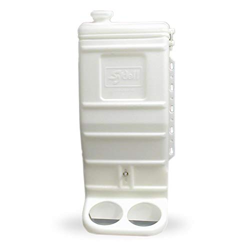 Sydell Sheep and Goat Grain Mineral Feeder, Large Outdoor Forage Grain Feeding System, Supports Up to 10 Small Livestock, Weather Resistant Heavy-Duty Plastic, Fence Mounted