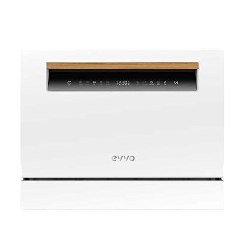 EVVO Lavavajillas Mini D - Tamaño compacto, 6 Servicios, 8 programas, Secado Extra