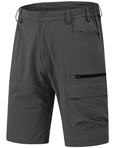 Rdruko Men's Relaxed Fit Cargo Shorts Quick Dry Lightweight Work Golf Casual Shorts 5 Pockets(Dark Grey, US 34)