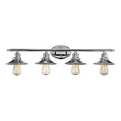 4 Light Vanity Bath Bar Modern Industrial Interior Fixture, Chrome