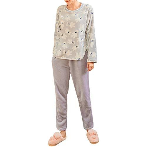 GOSO Pigiama da bambina 8 9 10 11 12 13 14 anni - Pigiama invernale caldo per ragazze adolescenti Tween Top e pantaloni lunghi Big Girl Sleepwear bianco Taglia unica