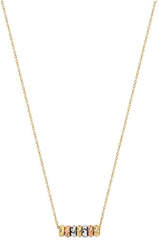 9ct Tri Colour Gold Ladies 16 Inches Necklace Brand New