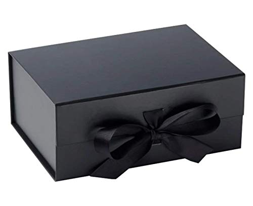 Edle Geschenkbox, cremefarben, mit Deckel, dekoratives Schleifenband mit geschreddertem Papier