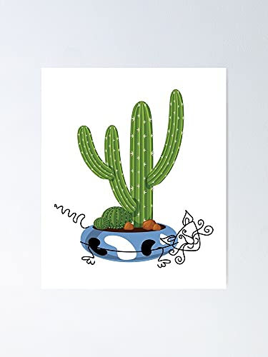 Cacti Cat Decor Flower Pots Poster - for Quote Print, Affordable Wall Art Printable, Gallery Wall, Family, Friends, Brother, Sister, Kids.