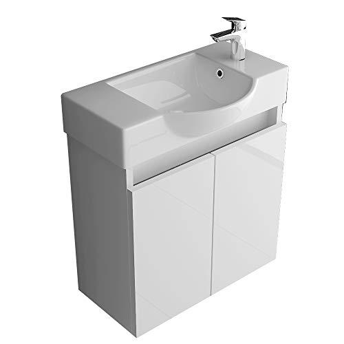 Alpenberger Keramikwaschbecken mit Unterschrank weiß hochglanz I Modernes Badmöbel-Set Gäste-WC Lösung Waschtisch Waschplatz Möbel Set Badezimmer Bad