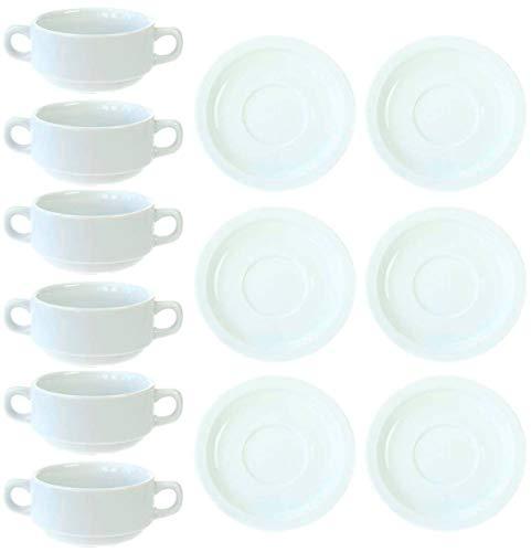 Juego de 12 tazas de sopa (6 tazas y 6 platillos) apilables...