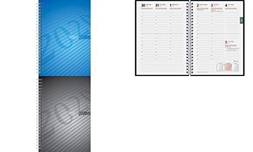 rido/idé 702110290 Buchkalender futura 2 (2 Seiten = 1 Woche, 148 x 208 mm, PP-Einband, Kalendarium 2020, Wire-O-Bindung) anthrazit