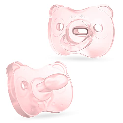 Medela Baby Pacifier, Pink, 6-18 Months with Sterilizing Case, 2-Pack, Soft Silicone, BPA-Free, Designed for Breastfeeding Babies, Supports Natural Suckling