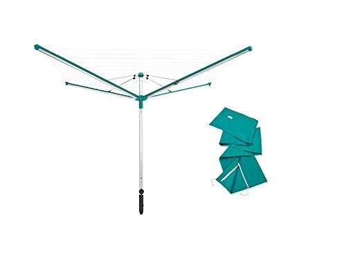 Leifheit Tendedero Linomatic 600 Deluxe Cover, tendedero vertical de gran capacidad con funda, tendal exterior fácil de usar con 60 metros de cuerda