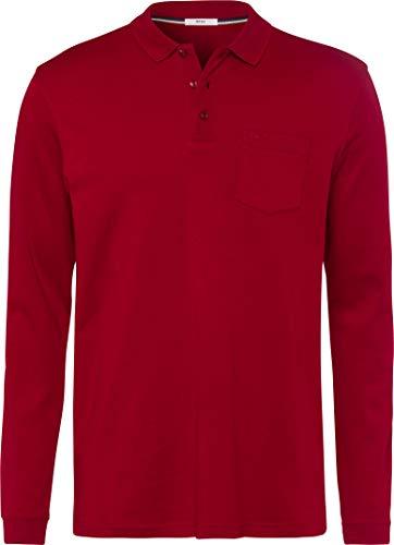 BRAX Herren Style Philip Pima Cotton Interlock Polo Casual Langarmshirt, Crimson, Large (Herstellergröße: L)