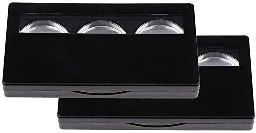 Miroir (deux Pièces) Boîte De Poudre De Rouge À Lèvres De Fard À Paupières Vide 3 Fente De Palette D'emballage Cosmétique Avec Miroir De Maquillage HD Et La Brosse Miroir de maquillage