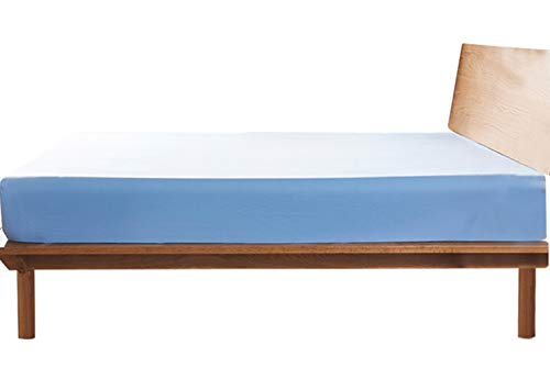 ボックスシーツ ワイドキング マットレスカバー 綿100% マチ部分約35cm 全周ゴム付き ベッドシーツ ベットカバー 洋式・和式兼用 毛玉なし 着脱簡単 抗菌防臭 防ダニ (ブルー、200X200x35cm)