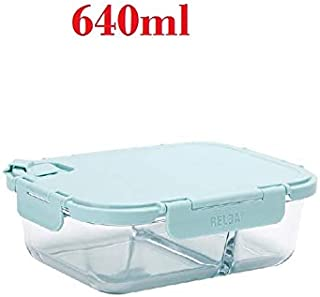 Dinnerware | Resist 400 Degrees Glass Lunch Box With Durable Locking Lid And Hole Leakproof Lunchboxes Women Adult -Pink Blue |Cookie Cutter | By CLAIRE