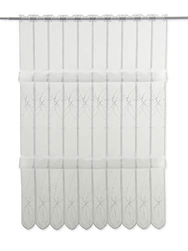 Clever-Kauf-24 Cliprollo Grafik Bestickt weiß mit Höhe 145cm (ungerafft) | Breite der Gardine frei wählbar in 8cm Schritten | Gardine | Panneaux Klipsrollo Raffgardine mit Stickerei|