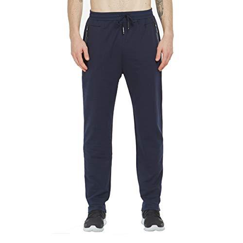 Tansozer Jogginghose Herren Baumwolle Trainingshose Männer Sporthose Herren Lang Fitness Hosen Herren Reissverschluss Taschen Ohne Bündchen Blau XXL