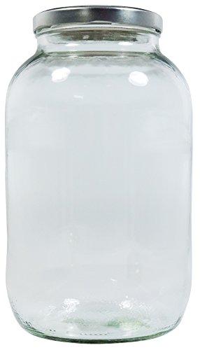 Viva Haushaltswaren XL Einmachglas 3400ml mit Schraubverschluss Silber, Vorratsglas Glasdose inkl. Beschriftungsetikett