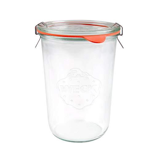 WECK 743 - Barattolo a bocca larga da 850 ml, con coperchio in vetro, guarnizione e morsetti, per pasta madre, conserve, conserve, yogurt, kimchi, marmellata.