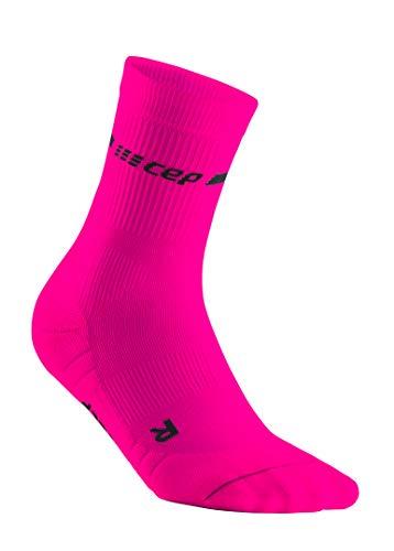 CEP – NEON Compression MIDCut Socks für Damen | Laufsocken mit Kompression für mehr Leistung in neon pink | Größe IV