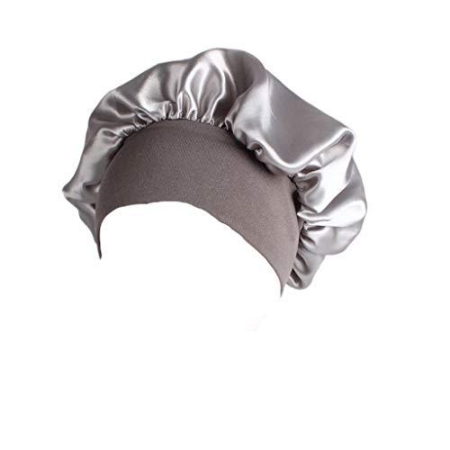 Lunji Bonnet de Douche Très élastique - pour Bain, Chimio, Dormir, Maquillage (Argent)