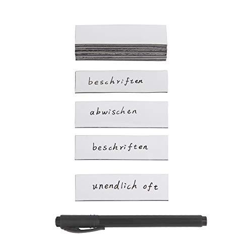 ewtshop 30 beschreibbare Magnetstreifen mit Stift, weiß - 100 x 30 mm