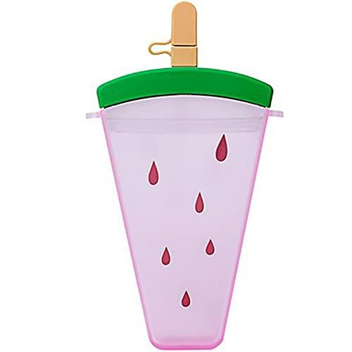 Lanyin Botellas de agua de plástico de 320 ml, botella de agua de helado de sandía con pajita, taza de agua portátil anticaída con forma de paletas para niñas