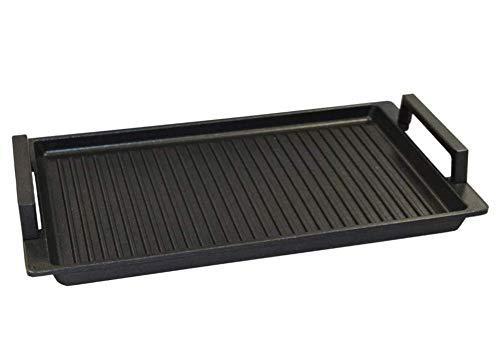 Lieblingspfanne - Grillplatte BBQ 41 x 24cm mit Seitengriffen antihaftbeschichtete Grill-Wendeplatte Aluminium Guss für alle Herdarten und Gasgrill