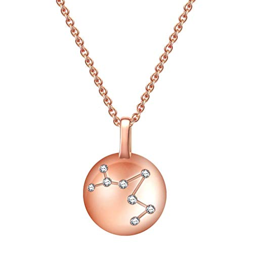 Collares para mujeres niñas cristal rosa 925 plata constelación de piscis horóscopo collar astrología 12 constelaciones signo del horóscopo astrología zodiaco estrella collar regalos de cumpleaño