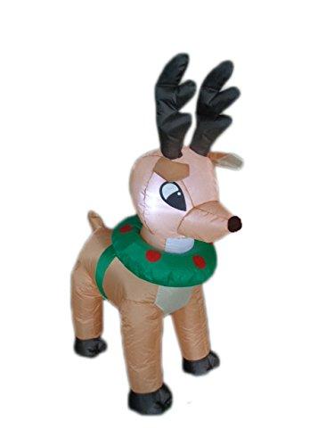 BZB Goods 4 Foot Tall Lighted Christmas Inflatable Reindeer Moose Deer...