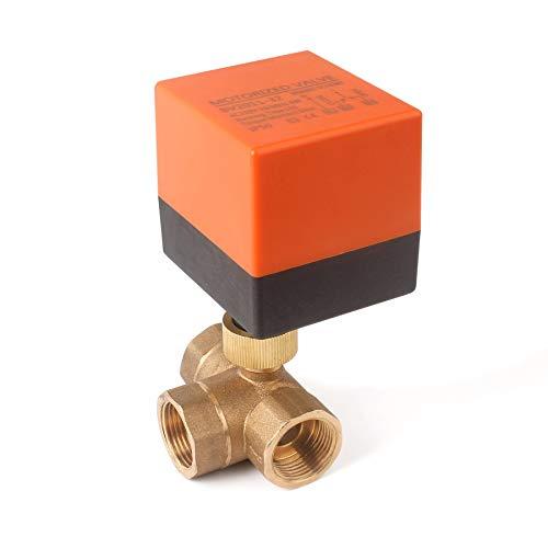 3 Wege Zonenventil Kugelventil Absperrhahn, 2 Modus, DN25 G1 Zoll, AC 230V, DreiWegeventil Umschaltventil, Absperr-Umschalt-Kugelventil, Elektro Ventil