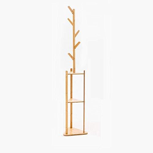 Lsqdwy Perchero de Piso de bambú de 36x180cm, Perchero para Sala de Estar, Dormitorio, Perchero para Ropa, Estante de Almacenamiento, Estante, 5 Ganchos, Muebles para el hogar