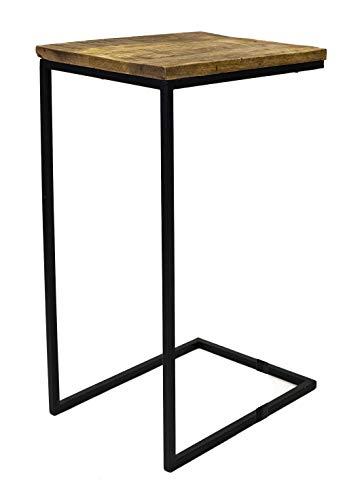 Beistelltisch Couchtisch Mangoholz Sofatisch eckig Tisch Holz Mango Industrie Look (Großer Tisch: H 67 x B 31 x T 40 cm)