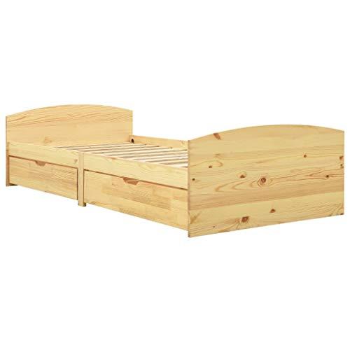 vidaXL Madera Maciza Pino Estructura de Cama con 2 Cajones Casa Dormitorio Habitación Robusta Duradera Mobiliario Cómodo Moderna Individual 90x200 cm