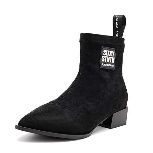 Botas cortas de gamuza puntiaguda, botas elásticas para mujer, para primavera y otoño, invierno, botas de tobillo de tubo medio, tacón grueso, tendencia para adelgazar, color negro, 36