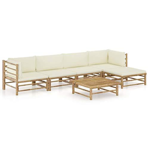 Festnight Conjunto Jardin,Muebles de Jardin, Muebles Terraza Exterior, Set de Muebles de jardín 6 Piezas bambú y Cojines Blanco Crema