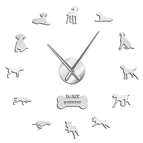 Reloj de pared con puntero de raza de perro deportivo alemán de pelo corto DIY reloj de pared grande puntero Deutsch Kurzhaar perro pegatinas de pared (plateadas、37 pulgadas)