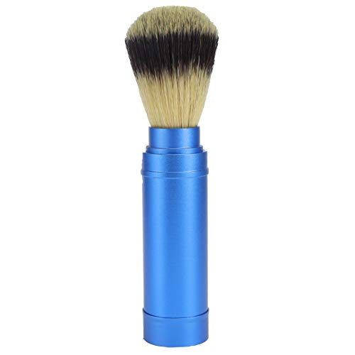 Cepillo de Afeitar Portátil Para Hombres Cepillo de Barba Para Salón de Limpieza Facial Cepillo de Espuma Herramienta de Aseo con Mango de Metal Para el Cuidado de la Cara Afeitado Húmedo